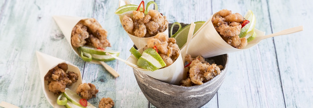 Cones of spiced honey chilli shrimp popcorn
