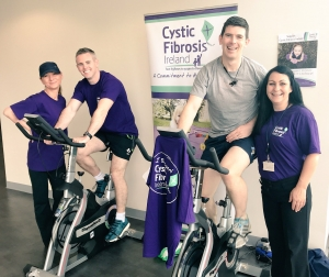 participants on bikes for cycle for cystic fibrosis ireland.