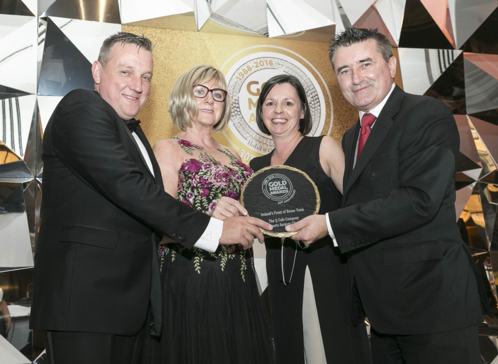 Accepting the award for Ireland Front of House Team at the gold medal awards.