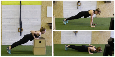 Range of images of a female doing a push up