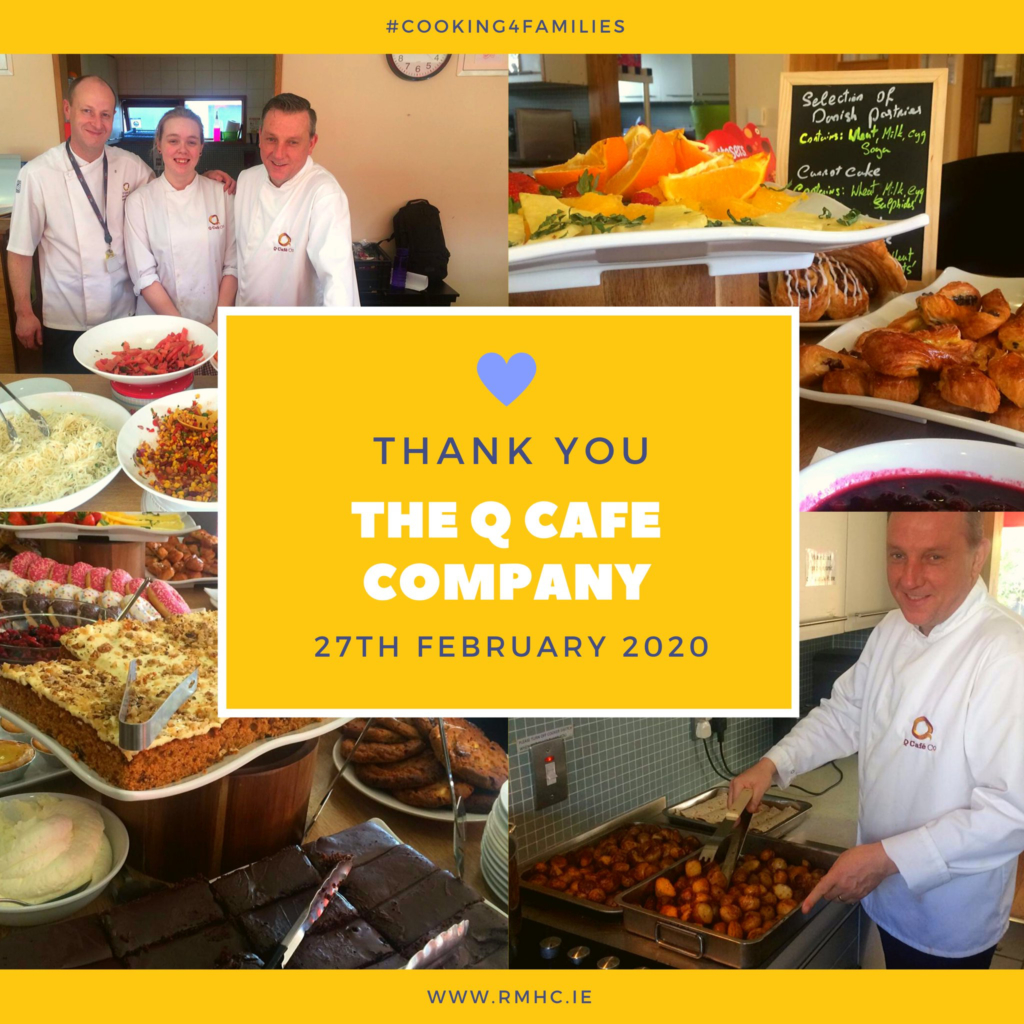 Team of chefs cooking and serving food at Ronald McDonald house, Dublin