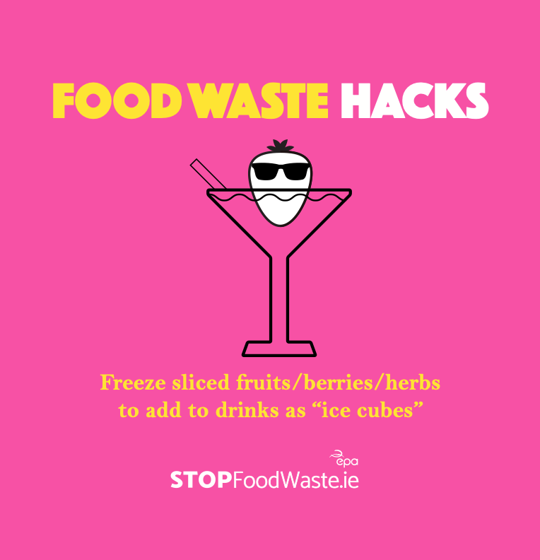 Food Waste Hacks Image - Place Sliced Fruit into Freezer and use as an ice cube in a drink