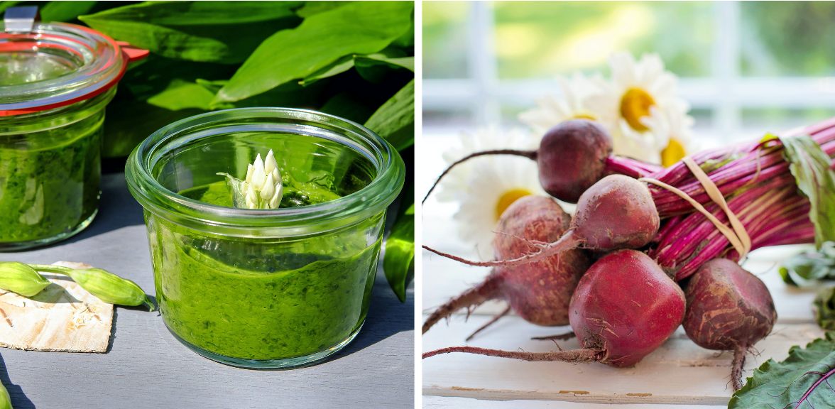 Split picture of wild garlic pesto and fresh beetroots