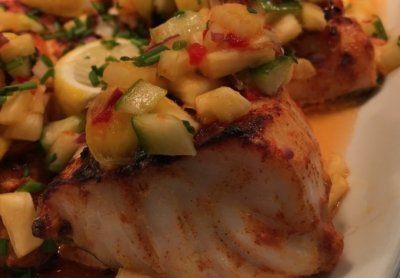 Picture of spiced cod with fruity salsa