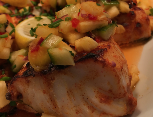 CJ's Tandoori Baked Cod with Fruity Salsa