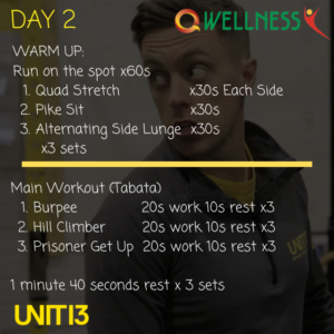 Image of instructions for day 2 workout.